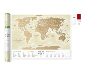 Скретч Карта Мира Travel Map Gold World (в тубусе)